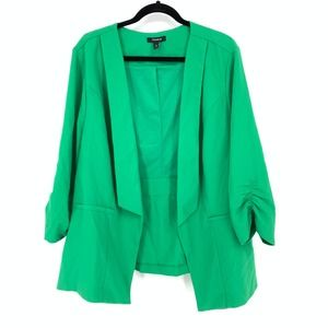 Torrid 4X Open Front Blazer Ruched Sleeves Green